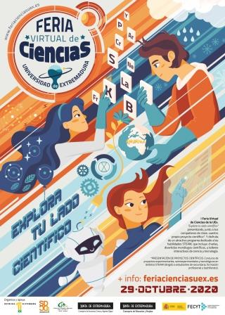 Cartel Feria de Ciencias UEx 2020 virtual WEB